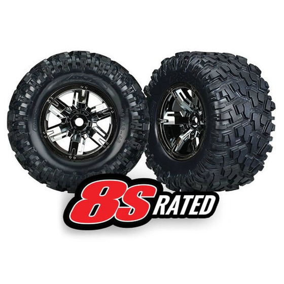 Traxxas 7772A Tires & wheels, assembled, glued (left & right) (2)